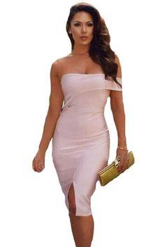 Asymmetric Off Shoulder Short Sleeve Party Bandage Dress MB28414-10