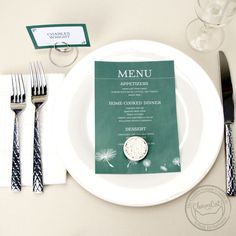 Bring that rustic feel to your wedding effortlessly with these dandelion seed menu cards. | Wedding Invitations by CharmCat Stationery & Design