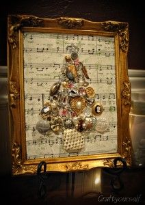 Vintage Christmas tree, lovely with sheet music behind