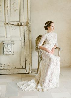 Romantic high neck lace wedding dress: http://www.stylemepretty.com/2016/02/17/romantic-wedding-dresses/