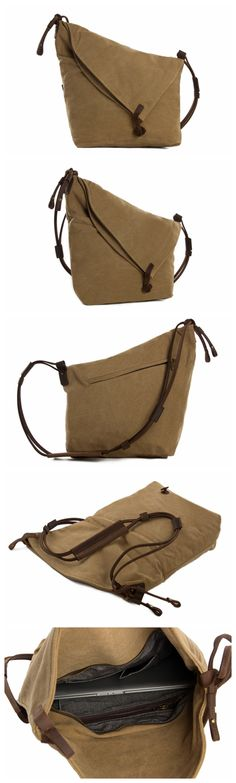 Canvas Leather Messenger Bag, Crossbody Bag Shoulder Bag, Satchel Bag