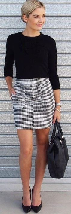 #fall #work #outfits   Black Top + Houndstooth Print Skirt