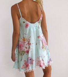 Ladies Swing Dress - Aqua Blossom Print with Pink and White Flower Cute Summer Outfits, Summer Dresses For Women, Cute Outfits, Luxury Dress, Swing Dress, Fashion Prints, Night Gown, Marie, Nice Dresses