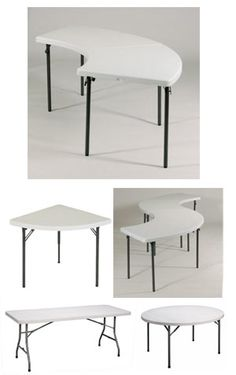 Plastic folding tables in unique shapes: Wedge, Serpentine, and classic Round and Rectangle.  Perfect to create all of your upcoming holiday and event #tablescapes.