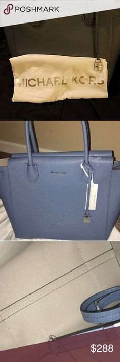 MICHAEL KORS DENIM LARGE LEATHER SATCHEL. **BRAND NEW** MICHAEL KORS (MERCER) DENIM LARGE LEATHER SATCHEL. - AUTHENTIC.  - DUST BAG INCLUDED.  - NON SMOKING HOME.  - ORIGINAL ATTACHED TAGS.  - PRISTINE CONDITION.  - NEVER BEEN USED.  - ADDITIONAL INFORMATION REGARDING ITEM IN 6TH PHOTO.  **NO TRADES PLEASE** Michael Kors Bags Satchels