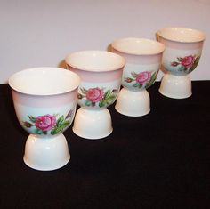 SET of 4: Homer Laughlin Moss Rose Egg Cups from ruthsredemptions on Ruby Lane