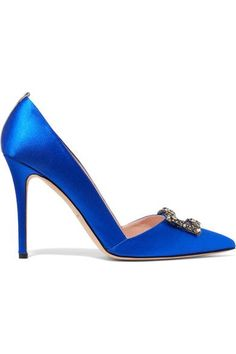 Sarah Jessica Parker heel measures approximately 100mm/ 4 inches Royal-blue satin Slip on Made in Italy