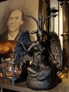 """Black Baphomet (Sabbatic Goat) Statue represents The Moor, Osiris, The Perfect Black Man, Pan, Satan, Jesus (666), Saturn, Black God, God of Nature (Horns).   Black (Moor) History aka The Occult Sciences aka Metaphysics. The """"Occult"""" DOES NOT mean 'witchcraft'. The Occult just refers to hidden, esoteric knowledge. The English Empire rose due to their study and practice of the occult sciences (hidden black history)..."""