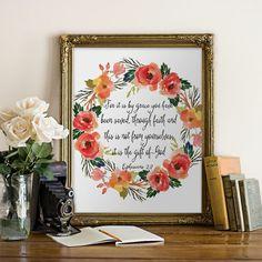 Bible Verse Ephesians 2:8 Printable wall art by PrintableVerses