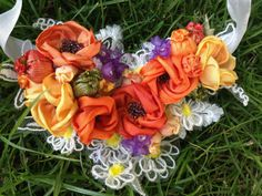 """Textile statement necklace """"Orange Eustoma Blossom"""", created with ribbons, silks and lace resulting in a vintage shabby chic necklace, suitable for any occasion, designed to be romantic and sensual. Lace Necklace, Flower Necklace, Fabric Jewelry, Vintage Shabby Chic, Silk Ribbon, Romantic, Create, Rose, Flowers"""