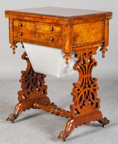 Superb Victorian Burr Walnut Ladies Work Table. Very good condition. C1860  Vintage Sewing Table 0b35a57d17