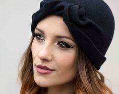 The Turban Cloche Hat, Day Wear Winter Classic Style Hat, Felt Millinery  - Nilla