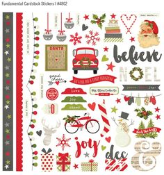 Simple Stories - Claus and Co Collection - Christmas - 12 x 12 Cardstock Stickers - Fundamentals Planner Stickers, Scrapbook Stickers, Printable Stickers, Scrapbook Supplies, Printable Planner, Scrapbooking, Christmas Stickers, Christmas Printables, Christmas Crafts