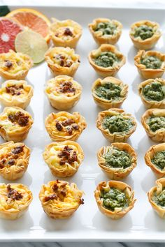 HAC Inspiration: Canapes Pesto & Chorizo Mini Quiche Bites with Phyllo Crust Rockwell Catering and Events is proud to cater all throughout Utah since We specialize in wedding catering, private catering & corporate catering. A perfect bite-sized appetizer, Holiday Appetizers, Appetizer Recipes, Bridal Shower Appetizers, Canapes Recipes, Mini Appetizers, Mini Quiche Recipes, Snacks Für Party, Food Platters, Appetisers