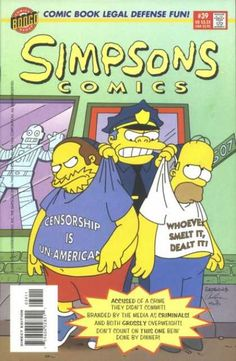 Chief Wiggum literally holds up Comic Book Guy and Homer. He confronts them for why they do this.Note: This is the finale comic issue that shows the 1990 comic logo.