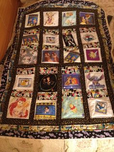 Disney quilt made from Disney fabrics, appliqué, and computer printing.