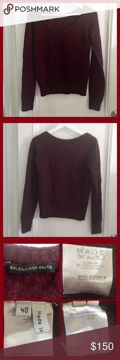 Balenciaga wool sweater. Balenciaga bordeaux wool sweater. Deep U neck. The color is not solid and have some darker color mixed as the detail photos. French Size 40. About US 10. Made in France.  Purchased from Balenciaga store in Paris. Balenciaga Sweaters Crew & Scoop Necks
