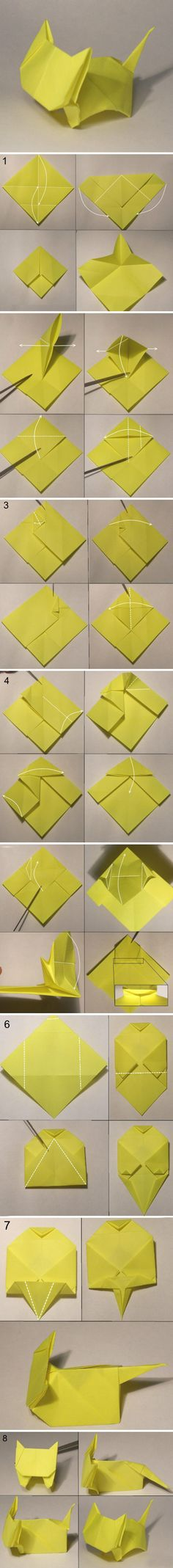Simple origami kitten paper craft