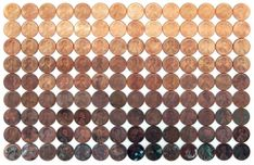 diy art project...not painted canvas obviously 10 Penny and Nickel Crafts using Your Loose Change - My Tuesday {ten} No.20 - bystephanielynn