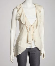 Take a look at this Ivory Sheer Accent Open Cardigan by Simply Irresistible on #zulily today!