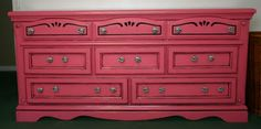I want to refinish the girls dresser in this color minus the zebra print knobs and black outlining.