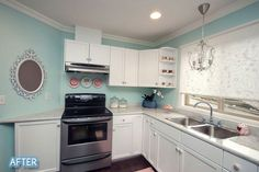 Anyway, since she had always wanted a white kitchen, fresh paint was first on the list! Then, she tried out a creative mix of countertop paint and roll-able stone coating to achieve exactly the look she wanted on the counters, and finally, a pretty sea foam green for the walls. Grand total ... $300!