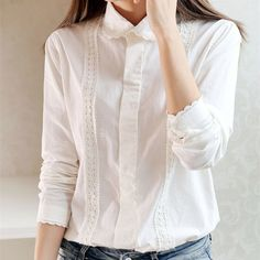 White Blouse Women Work Wear Button Up Lace Turn Down Collar Long Sleeve Cotton Top Shirt Plus Size S-XXL blusas feminina T56302 *** Prover'te etot zamechatel'nyy produkt.