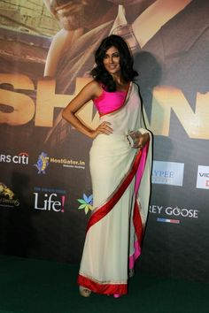 Chitrangada Singh - Note contrast between the pink choli and the red border