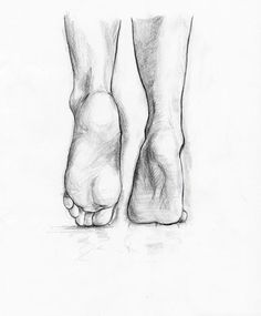 Feet pencil sketch study the form More