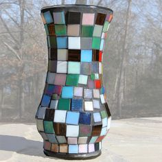 Mosaic Vase art vase covered in glass squares glass by backtrax