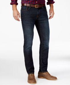 A laid-back look is enhanced by the faded dark blue wash, giving these Tommy Hilfiger slim-fit jeans a rightful place in your denim lineup. | Cotton/spandex | Machine washable | Imported | Slim fit |