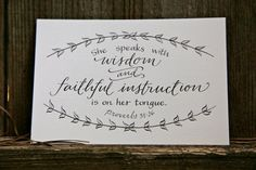Hand-Lettered Scripture Print - Proverbs 31:26 - Bella Scriptura Collection from Paperglaze Calligraphy