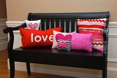 14 Easy to Make Valentine's Day Home Decor Ideas that anyone can make! Valentines Day Decorations, Valentine Day Crafts, Love Valentines, Valentine Ideas, Funny Valentine, Diy Valentine's Pillows, Cute Pillows, Pink Pillows, Pillow Ideas