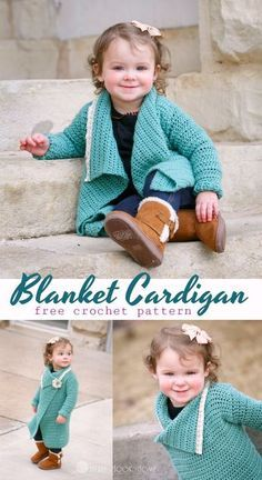 This free crochet pattern for a Blanket Cardigan is perfect for toddlers! Size 18 month with more sizes to come!