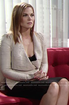 Phyllis's cream pleated leather jacket on The Young and the Restless.  Outfit…