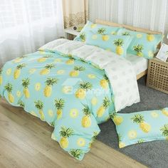 Pineapples Fruit Fresh Style Printed Cotton 4-Piece Baby Blue Bedding Sets