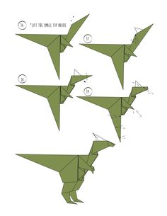 Rawr - Origami Dinosaur! And 2 More Ways to Make an Origami Dinosaur.