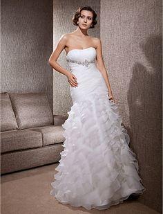 Gorgeous Layered Floor-length Organza Satin Wedding Dress - USD $ 699.99