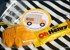 Wheels on the Bus Birthday Party Favor - bus crayon | Marigold Mom