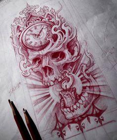 Skull & clock . . . #skull #clocktattoo #skulltattoo #blackworkers  #onlyblackart #darkartists #blacktattoo #tattooartist #blacktattooart…