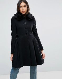 ASOS Swing Coat with Faux Fur Collar - Black