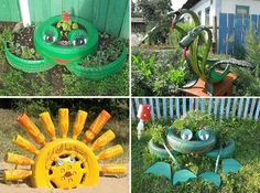 34 Easy and Cheap DIY Art Projects to Beautify Your Backyard Lanscape homesthetics decor Diy Art Projects, Garden Projects, Garden Crafts, Diy Garden Decor, Easy Garden, Diy Crafts, Tired Animals, Tire Craft, Tire Garden