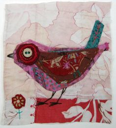 Unframed appliqued bird with embroidery on to vintage quilt fragment etsy Mandy pattullo fab textile work Bird Applique, Wool Applique, Fabric Birds, Fabric Art, Collages, Collage Art, Marco Ikea, Bird Quilt, Vintage Quilts