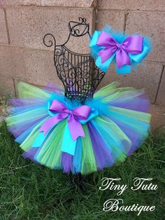 MONSTERS- Purple, Green, Blue infant/child Tutu with hairbow:  Newborn-5T