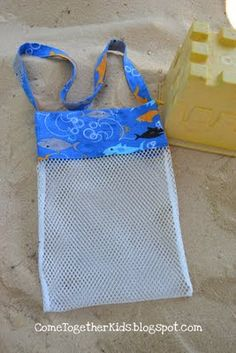 DIY shell collecting bag tutorial.  Oh my!  I really need to do this!