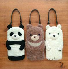 Beautiful Needle felting wool animals bear panda polar bear phone bag (Via @caranfee)