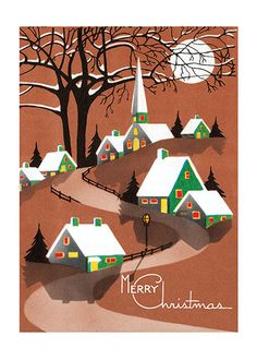 Christmas Editor: Blue Lantern Publishing Home Illustrator: Unknown Imprint: Laughing Elephant Mid-Century Snow Trees Winter' Old Christmas, Old Fashioned Christmas, Christmas Scenes, Vintage Christmas Cards, Retro Christmas, Vintage Holiday, Christmas Greeting Cards, Christmas Pictures, Christmas Greetings