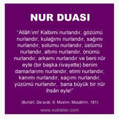 NUR DUASI Arapca ve Türkçe Okunuşu ve Meali