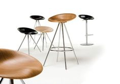 JoJo is an elegant and curvaceous stool seat created from 3D veneered plywood or PU to provide one of the most comfortable stool seat shapes. JoJo's two frame styles complement the seat design in the form of high and low four leg frames, or height adjustable frame with a swivelling centre pedestal.