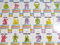 Monster In my Pocket - Series 1 - Battle Cards - Complete Set Tyrannosaurus Rex, My Pocket, Classic Toys, Werewolf, Cards, Maps